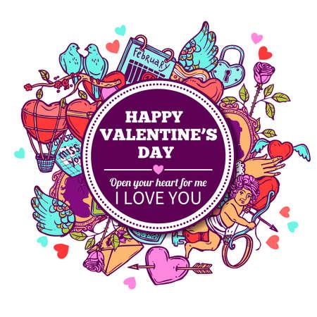 愛とバレンタイン落書きフレーム  イラスト・ベクター素材