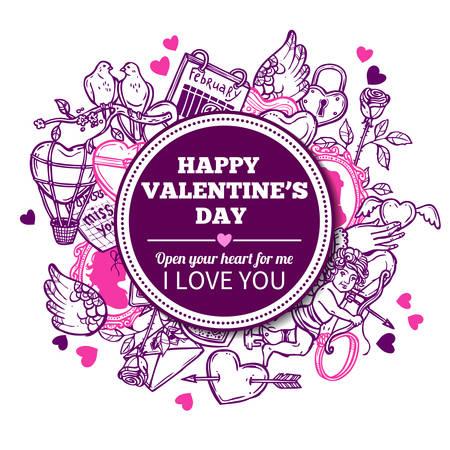 Love And Valentines Sketch Background With Congratulation Ilustração