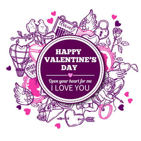Love And Valentines Sketch Background With Congratulation Illustration