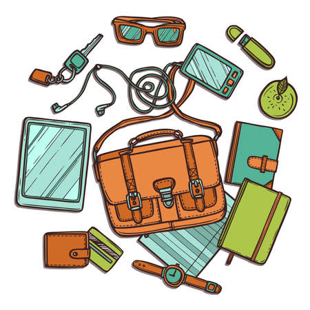 Hand drawn color illustration with bag and its contents. Workplace top view