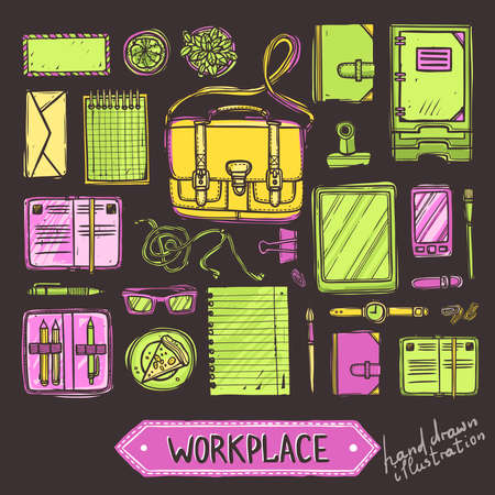 Hand drawn color set of work and business elements top view on blackboard. Workplace top view
