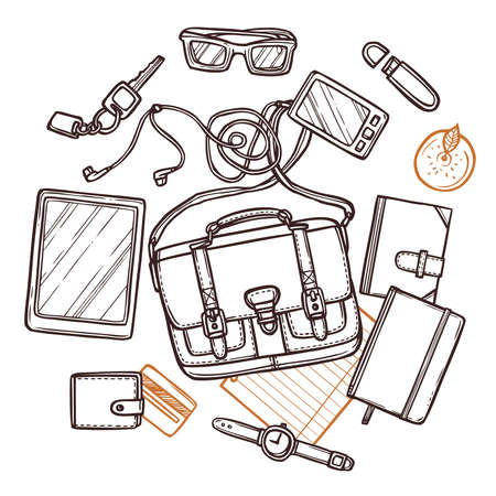 Hand drawn illustration with bag and its contents. Workplace top view