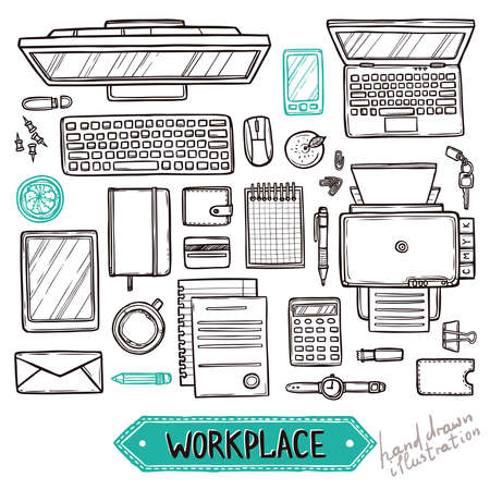 Hand drawn set of work and business elements top view. Workplace top view Illustration