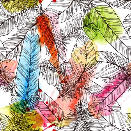 Naadloos patroon met de hand getekende veren met waterverf ploetert Stockfoto - 90537413