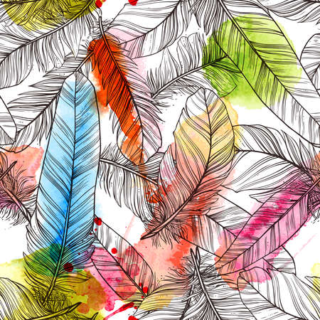 Seamless pattern with hand drawn feathers with watercolor splatters Banco de Imagens - 90537413