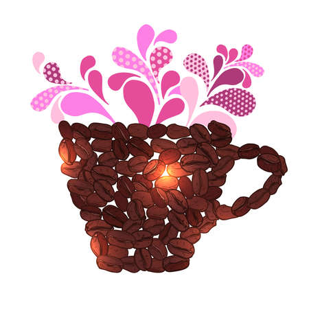made of coffee beans and pink splash
