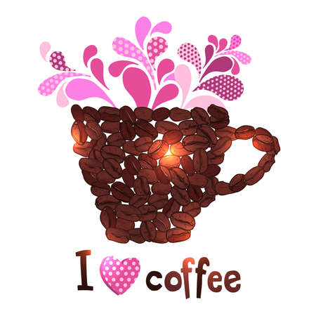 cap of coffee made of coffee beans and text I love coffee Illustration