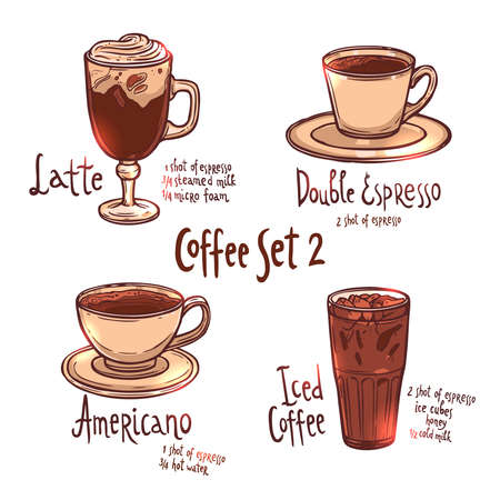 coffee color set of different kinds of coffee on white background with hand drawn typography