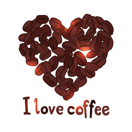 coffee heart made with coffee beans with text