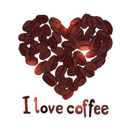 koffie hart gemaakt met koffiebonen met tekst Stock Illustratie