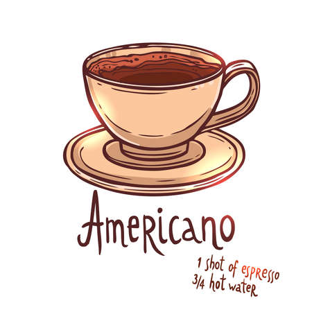 cup of Americano Coffee on white background with typography, hand drawing illustration