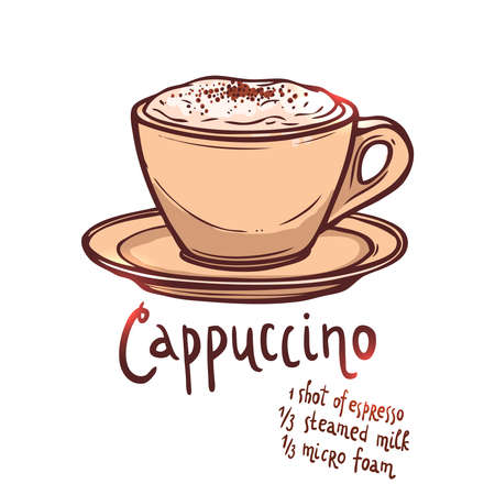 cup of Cappuccino Coffee on white background with typography, hand drawing illustration Illustration