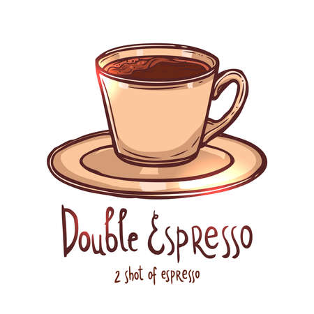 cup of Double Espresso Coffee on white background with typography, hand drawing illustration