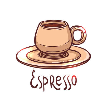 cup of Espresso Coffee on white background with typography, hand drawing illustration