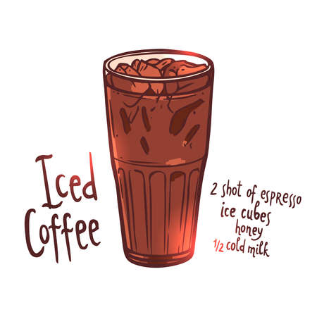 cup of Iced Coffee on white background with typography, hand drawing illustration