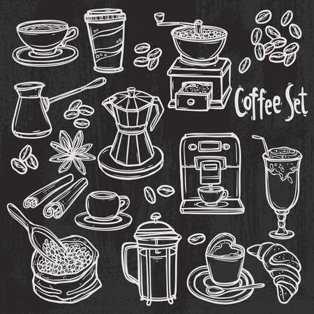 hand drawn coffee set on blackboard Stock Illustratie
