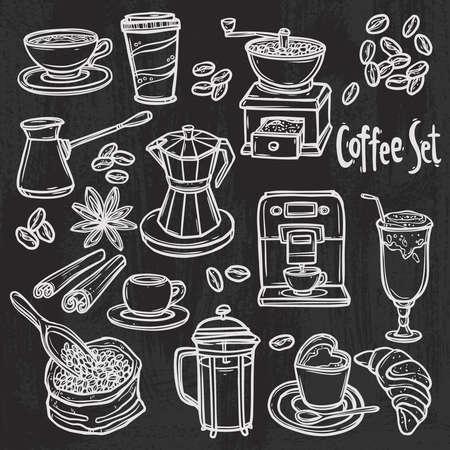 hand drawn coffee set on blackboard Illustration