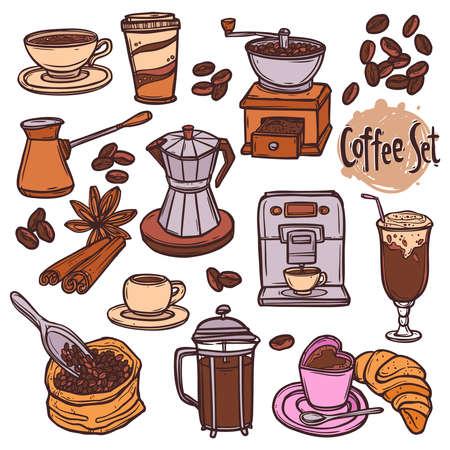 hand drawn color coffee set