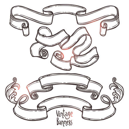 hand drawn vintage ribbon banners set on white