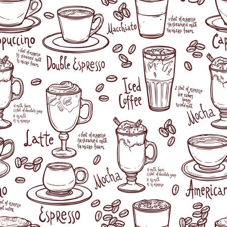 seamless coffee pattern with cups of coffee and typography