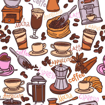 seamless color coffee pattern Stock Vector - 90537480