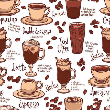 seamless color coffee pattern with cups of coffee and typography