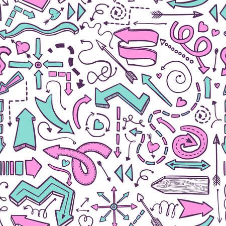 화이트의 그려진 된 분홍색 및 파랑 벡터 화살표의 원활한 패턴 일러스트