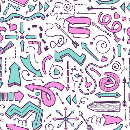 seamless pattern of hand drawn pink and blue vector arrows on white