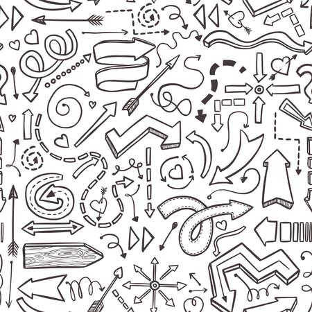白に手描きベクトル矢印のシームレスなパターン