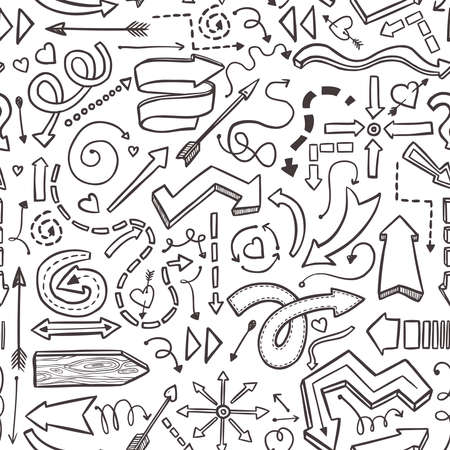 seamless pattern of hand drawn vector arrows on white
