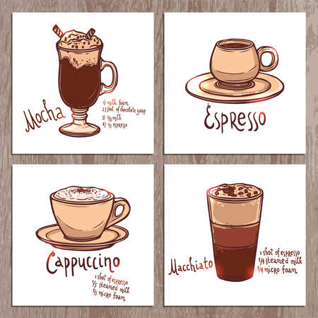 set of banners with cups of different kinds of coffee on the wooden background