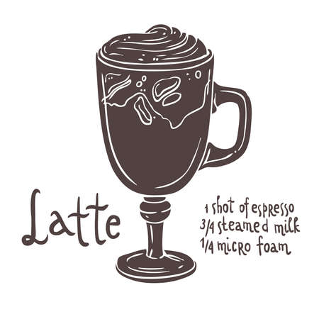 Silhouette of a cup of coffee with a typography, hand drawing illustration Illustration