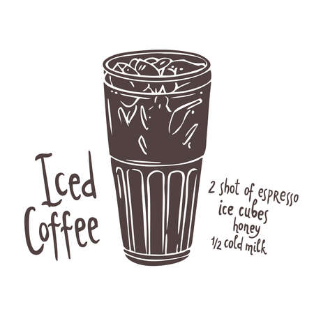 Silhouette of cup of Iced Coffee on white background with typography, hand drawing illustration