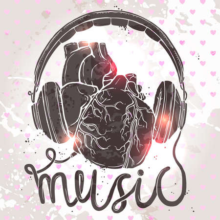 Anatomical heart with headphones, hand drawn illustration of music concept on grunge background