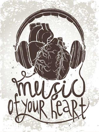 ヘッドフォンで解剖学的心手下ろしイラスト テキストと音楽のコンセプト「心の音楽」グランジ背景に