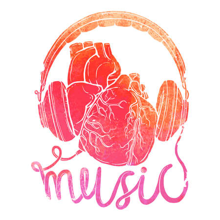 Anatomical heart with headphones, hand drawn illustration of music concept with watercolor texture Illustration