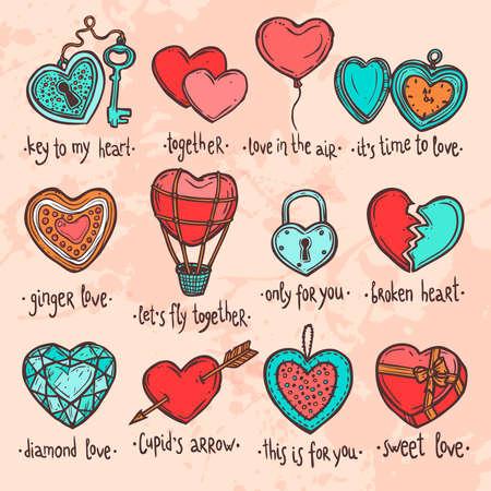 手描きバレンタイン ハートの色セット、面白いテキストの心臓の形態内のオブジェクトのセット