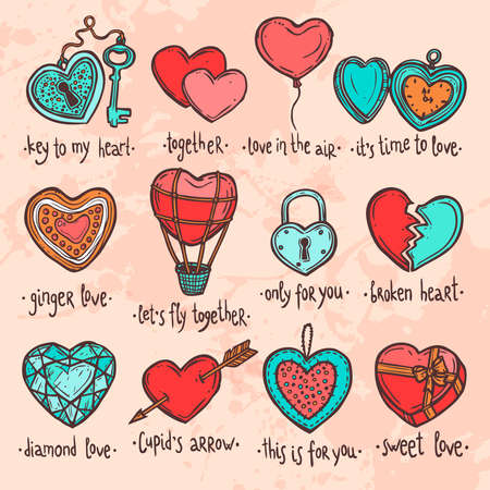 color set of hand drawn valentine hearts, set of objects in the form of heart with funny text