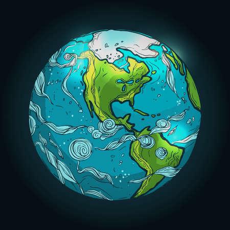 손으로 그린 그림 지구의 어두운 배경에