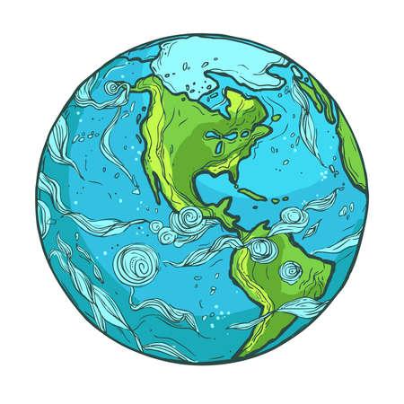 흰색 배경에 행성 지구의 손으로 그린 그림