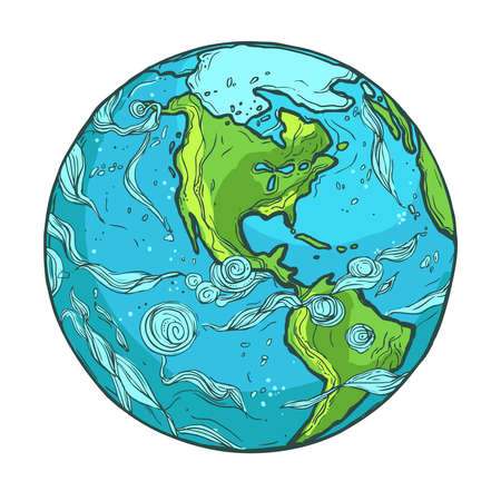 Hand drawn illustration of Planet Earth on a white background Иллюстрация