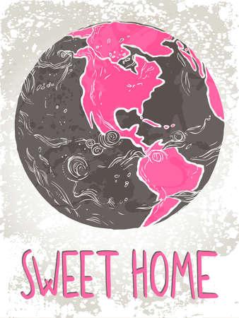 本文「スウィート ホーム」地球の描き下ろしイラストを手 写真素材 - 90943642