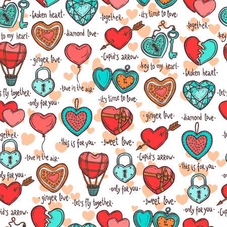 手描きバレンタイン ハートとシームレスなパターン、面白いテキストの心臓の形態内のオブジェクトのセット  イラスト・ベクター素材