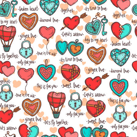 seamless pattern with hand drawn valentine hearts, set of objects in the form of heart with funny text