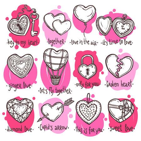 手描きバレンタイン ハートのセット、面白いテキストの心臓の形態内のオブジェクトのセット