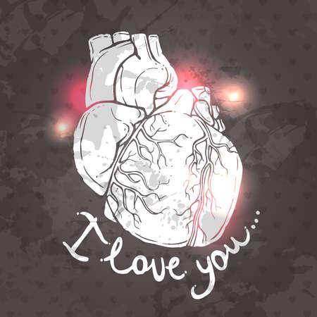 心の絵とメッセージとバレンタインデーのためのカード私はあなたを愛しています。