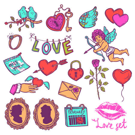 Color set of love elements in sketch style for Valentine's day, a heart with key, heart with Cupid's arrow, rose, love letter, wedding ring. 일러스트