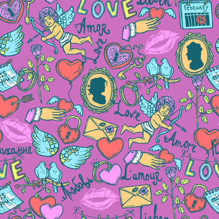 Colorful patterns with love elements in sketch style for Valentines day, heart with a key, Cupid and his arrow, rose, love letter, wedding ring