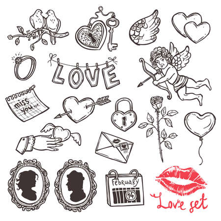 Set of love elements in sketch style for Valentines day, heart with key, cupid with his arrow, rose, love letter, wedding ring