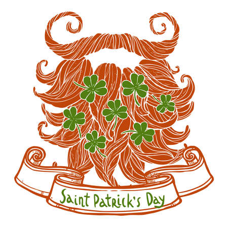 St. Patricks day greeting, red beard with clover and vintage ribbon banner. Illustration